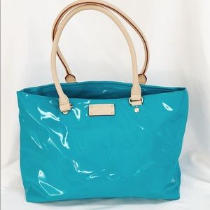 KATE SPADE Teal Blue Patent Leather Tote Bag